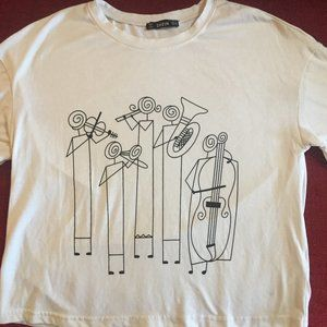 SHEIN cropped white baby tee with music art